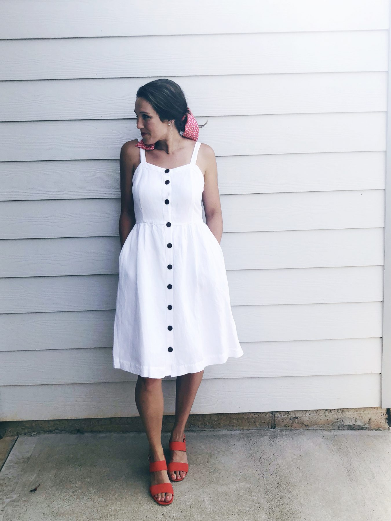summer white midi dress with pockets